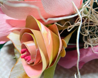 Sweet Magnolia Paper Bouquet - Birthdays, Mother's Day, Paper Anniversary - FREE message card