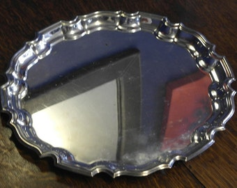 large vintage silver plate drinks serving tray