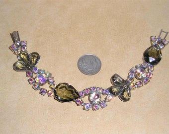 Vintage Juliana Bracelet With Aurora Borealis Crystal Rhinestones And Black Diamond Glass Stones 1960's Jewelry A2