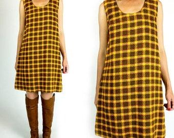 SPRING SALE Vintage 1960s Orange and Brown Sleeveless A-Line Knee Length Shift Dress Size M Medium L Large