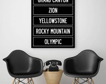 U.S. National Parks Canvas Art, Oversized Canvas Art, Home Wall Decor, Subway Sign, Yosemite, Grand Canyon, Zion, Yellowstone, Travel Sign