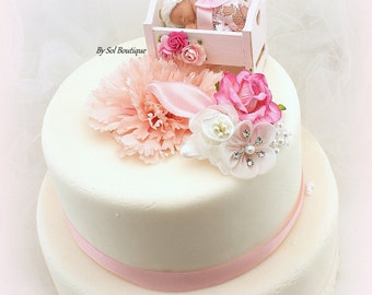 Baby Cake Topper,Baby Shower,Pink,Baby Crib,Cake Topper,Vintage Style,Girl Baby Shower,Boy Baby Shower,Lace Topper,Baby Cake Decoration