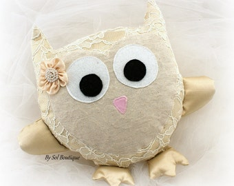 Owl Cushion,Girl Room Cushion,Gold,Champagne,Baby Shower Gift,Baby Room Decoration,Baby Wall Decoration,Owl Pillow, Baby Room,Birthday Gift