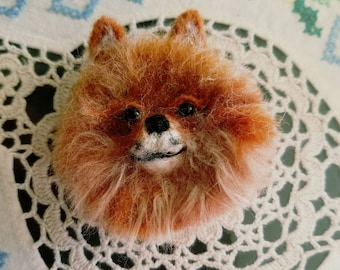 Needle Felted Pomeranian pin -made to order