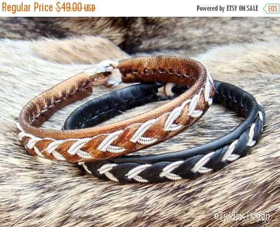 Sami Lapland Swedish Bracelet ODIN Womens and Mens Bracelet in Bronze Leather with Antler Button - Custom Handmade High Fashion