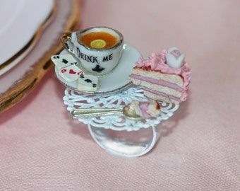 Tea Party Ring - Alice in Wonderland  Ring - Pink Cake Jewelry - Fairy Tale Ring - Food Jewelry - Drink Me Eat Me Jewelry