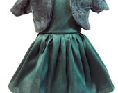 Green Faux Silk Dress with Velour Bolero, Winter and Holiday Dress