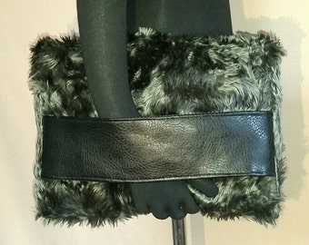 Faux Fur Foldover Clutch, Grey Silver  Lucious Long  Hair Faux Fur, Faux Leather Hand/Arm Band Strap