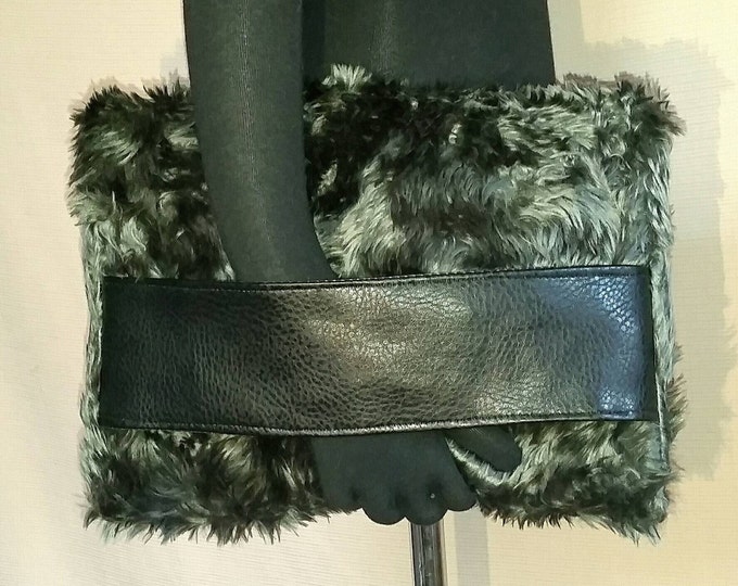 Faux Fur Foldover Clutch, Grey Silver Lucious Long Hair Faux Fur, Faux Leather Hand/Arm Band Strap
