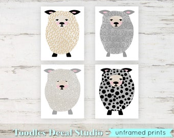 "Girls Sheep Wall Art Prints Baby Lamb Wall art 8"" x 10"" Sheep Prints Set of 4 Kids Sheep Art Sheep Room Decor Sheep Nursery Print"