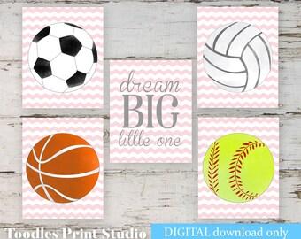 Dream Big Little One Sports Printable Wall Art, Girls Set of 5 Wall Prints Wall Art Instant Download soccer Girls Nursery Softball Wall Art