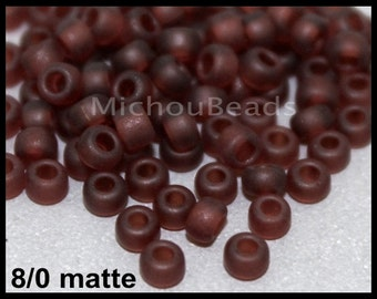10 GRAMS 8/0 Matte Burgundy Brown Round Czech Seed Beads - Tiny 3mm Spacer Glass Beads - DIY Usa Wholesale Discount - 6909