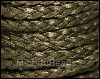DESTASH Sale 2 Yards 5mm Flat BRAIDED Leather Cord - Metallic Kansa 6 Feet Braided Flat Indian genuine Lead Free Leather Cord USA Wholesale