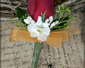 Burgundy Rose Boutonniere ivory gold Groom groomsman bridal silk wedding flowers father best man