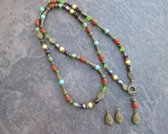 "Extra Long Lariat Necklace and Earrings set with Carnelian Turquoise Pearls and Czech glass beads  Colorful 36"" necklace"