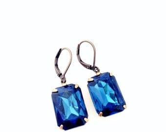 SALE Blue Gem Earrings.  Rectangle Crystal Earrings. Silver or Brass