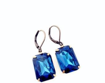 Blue Gem Earrings.  Rectangle Crystal Earrings. Silver or Brass