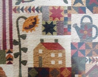 Sunflower quilt pattern etsy for Under the garden moon