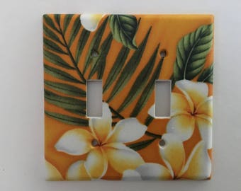 Plumeria Flower Double Light Switch Plate
