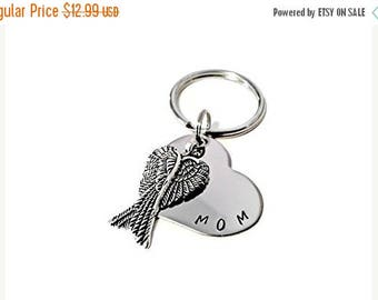 SPRING SALE MOM Memorial Keychain, Hand Stamped Key chain for Women or Men with angel wings, sympathy gift, memorial keychain