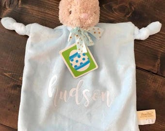 Bunny Lovey for babies with personalization, Cuddle Bunny, Comfort Toy, Infant Toy, Stuffed Animal Blanket