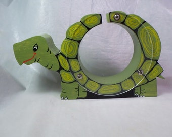 Smiling Green Turtle wooden coin bank - personalized free