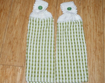 Set of 2 Crochet towel top Olive green  Cotton towel set