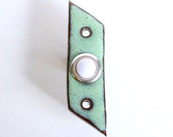 Mid Century Modern Doorbell with Standard Button - Parallelogram Modern - 1 Inch Wide - Aqua Mist - Handmade Ceramic Pottery - READY TO SHIP
