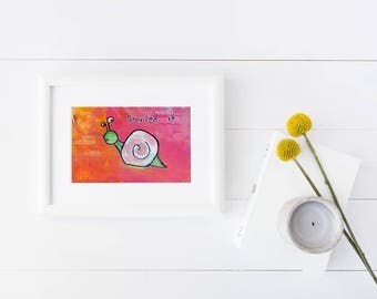 SNAILed It   pun print   cute animals   snail   artwork   animal pun   kids   home decor   office decor   motivation   nailed it