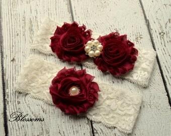 MAROON Bridal Garter Set - Ivory Keepsake & Toss Wedding Garter - Chiffon Flower Rhinestone Lace Garter - Vintage Garter - Garder - Burgundy