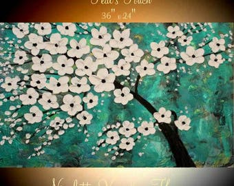 """ORIGINAL 36""""Abstract Acrylic gallery canvas-Contemporary Modern shades of teal,gold Blossom Tree painting by Nicolette Vaughan Horner"""