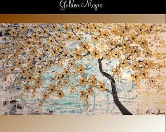 "2 DAY SALE 60"" Oil Landscape Contemporary Modern palette knife Art Golden Cherry Blossom Tree impasto oil painting by Nicolette Vaughan Horn"