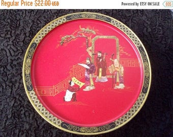 Now On Sale Vintage Asian Inspired Oriental Red & Black Tin 1960s Box Collectible Home Storage Solutions by Sunshine Biscuits Mid Century Mo