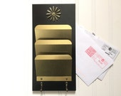 Vintage Letter Holder - Mid Century Office Paper Holder - Decorative Key Hook - Office Organizer - Office Decor