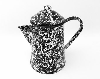 Enamel Coffee Pot - Vintage Enamelware Tea Pot - Splatterware Enamel Coffee Perk - Rustic Farmhouse Kitchen Black and White