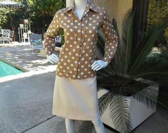 Vintage 1970's The Broadway Taupe Polka Dot Blouse - Size 10/12