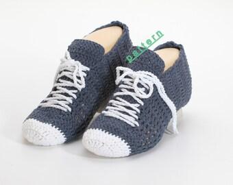 Blue Slippers crochet Patterns Slippers PDF Slippers Pattern Crocheted Sneaker  Unisex Slippers PDF, leg warmers socks