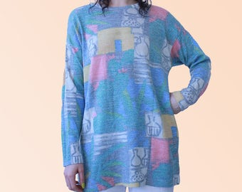 70s Vtg Graphic Sweater Knit Abstract Print Graphic Artsy Boheme Baby