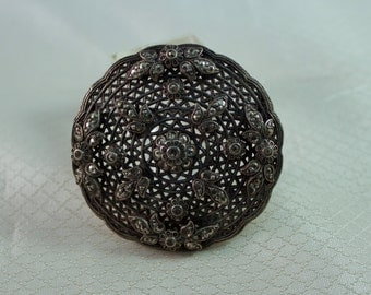 1940's Victorian Reproduction Pewter Lattice Brooch With Marcasite Flower Design