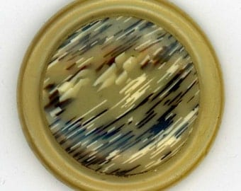 Vintage Celluloid Coat Button ~ 1-5/16 inch 33mm ~ Sewing Button with Clear Honey Rim and Streaked Black Honey & Cream Center