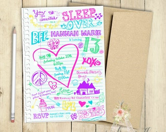 Sleep Over Invitation Notebook Doodles Slumber Party Invitation Birthday Party Invitation PRINTABLE Hearts Peace School Doodles Skeches