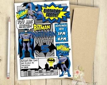 Batman Invitation Batman Birthday Party Comic Book Customized Superhero Invitation PRINTABLE