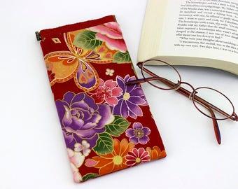 Cute Glasses Case, Kimono Glasses Case, Reading Glasses Case, Case For Glasses, Butterfly Peony Red