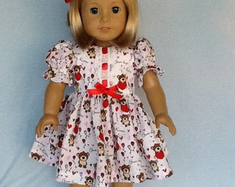 18 inch doll Valentine's Day dress. Made to fit dolls like American Gir, Gotz, Our Generation and others.