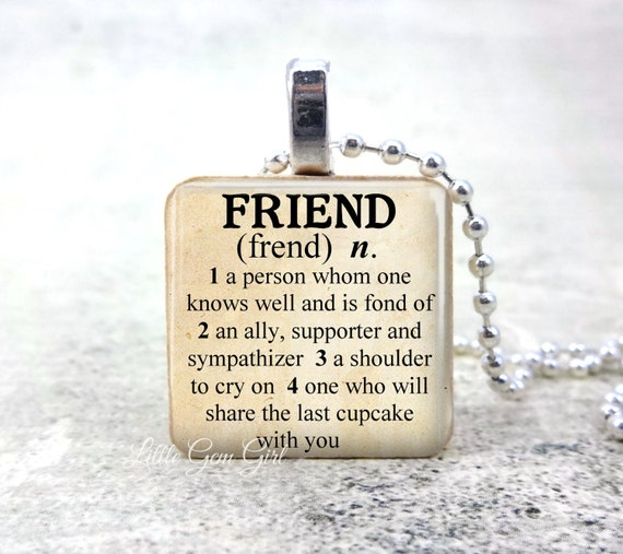 Best Friend Necklace Charm - Antique Style Dictionary Definition Kindred Spirits Friendship Quote and Sayings Wood Pendant
