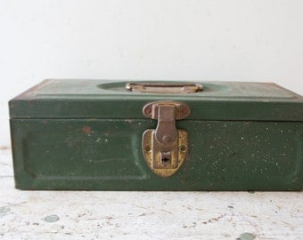Industrial Metal Toolbox - Maiser Union Patina Green Case Box Tool Tackle Tools Box Vintage Blue Green Container Ratrod Organizer Retro