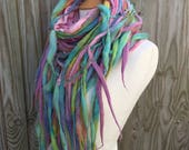 RESERVED for Jen Pastel rainbow- pastel Dreadlock tendril scarf-Boho scarf-lagenlook -colourful  wool scarf- unique  Scarf- spring Scarf- Wo