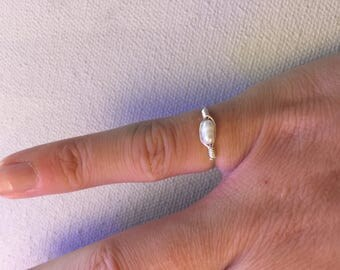 Delicate Freshwater rice Pearl Ring Pinkie/Child Sterling Silver