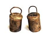 2 Metal Cow Bells, Vintage Primitive Handcrafted Ringing Rustic Small Cowbell Ornaments, Western Christmas Home Decor  itsyourcountry