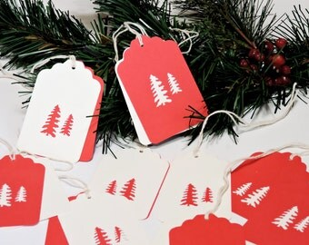 Woodland Tree Tags, Hand Punched Two-Piece Hidden Message Paper Red Christmas Gift Hang Tags, Tie Ons, Swing Tags, Set of 8 itsyourcountry